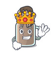 king milkshake mascot cartoon style vector image vector image