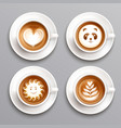 latte coffee art set vector image vector image