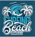 lettering surfing beach honolulu vector image vector image