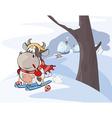 little cow walking ski Cartoon vector image