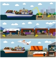 Logistic transportation concept flat banners vector image