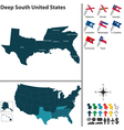 Map of Deep South United States vector image vector image