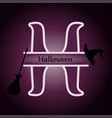monogram halloween hat broom on purple vector image
