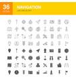 navigation line web glyph icons vector image