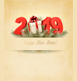 new year holiday background with a 2019 and a vector image vector image