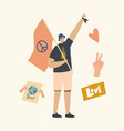 pacifist character with flag and peace symbol vector image vector image