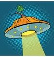 Pumpkin Halloween UFO vector image vector image