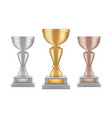 realistic trophy gold silver bronze award cups vector image vector image