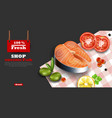 salmon steak realistic organic fish meat vector image vector image