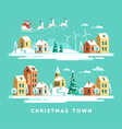 Santa Claus in sky above the town Christmas card vector image