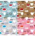 Seamless pattern scrapbooking set Santa reindeer vector image vector image