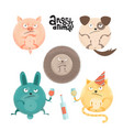 set angry roung anilams and pets flat cartoon vector image vector image