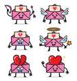 set envelopes love character design vector image