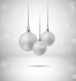 Set of three silver christmas balls with vector image vector image