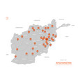 stylized afghanistan map showing big cities vector image