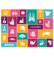 traditional symbols of spain flat icons vector image