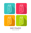 line art bottle of baby powder icon set in four vector image