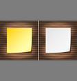 blank yellow and white papers on wooden wall vector image