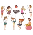 Set of fun and kind kids Girls vector image