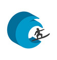 surfer symbol flat isometric icon or logo 3d vector image