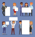 group of business people holding presenting empty vector image