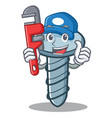 plumber screw character cartoon style vector image