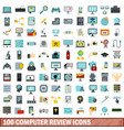 100 computer review icons set flat style