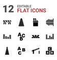 12 block icons vector image vector image