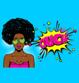 black african-american young girl pop art vector image