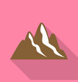 brown mountains icon flat style vector image
