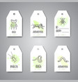 bugs insects hand drawn tag pest control concept vector image