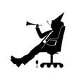 businessman silhouette of a man will celebrate vector image vector image
