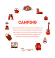 camping and hiking equipment banner with place for vector image