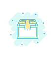 cartoon colored open box icon in comic style vector image