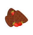 chocolate belgian waffles and red ripe strawberry vector image vector image