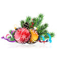 Christmas tree balls with blue and purple ribbons vector image vector image