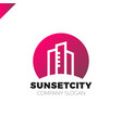 city in sun icon logo design element vector image vector image