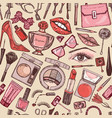 cosmetics for makeup seamless pattern vector image vector image