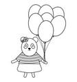 cute bear panda with balloons helium in birthday vector image vector image