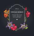 dark badge design with impatiens tigridia vector image vector image