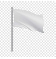 empty white flag developing in wind mockup vector image vector image