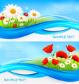 Flower banners with red poppies and daisies vector image vector image
