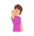 girl holds palm in front her saying stop vector image