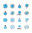 global related in glyph icon set vector image vector image