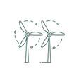 green energy wind turbines icon in line art vector image vector image