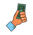 hand with money bill icon vector image vector image
