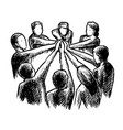 hatching people hold hand together teamwork sketch vector image