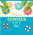 hello summer time banner with a beach umbrella and vector image