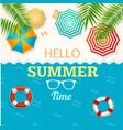 hello summer time banner with a beach umbrella vector image