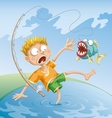 horrible fishing accident vector image vector image